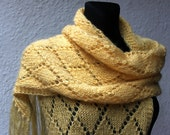 Beautiful long,hand knitted, yellow scarf for autumn, ready to ship. Gift idea for her.