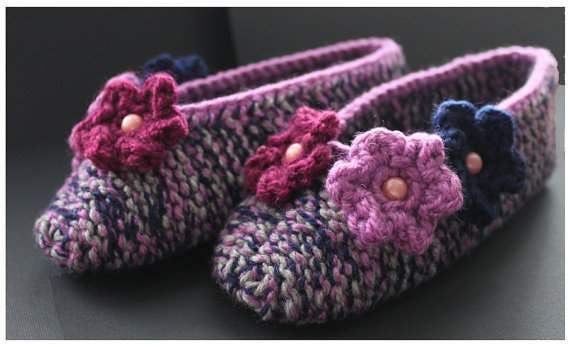 Hand knitted slippers, slippers with  flowers, women ballerinas,  slippers size 38 -39  EU, slippers ready to ship