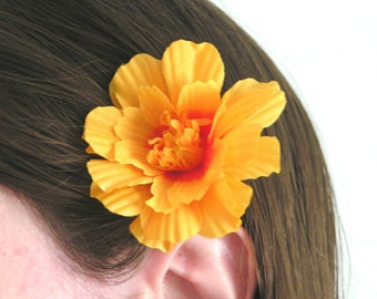 Sunshine Gold Marigold Flower Bobby Pin