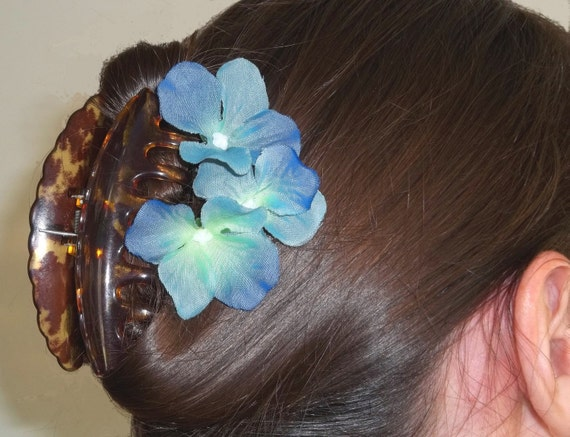 Bright Blue Hydrangeas - Set of 3 Bobby Pins