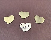 Brass Heart- 1/2 inch x 1/2 inch hand stamped brass heart charm custom made and personalized for you