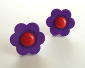 CLEARANCE - Purple and Red Flower Stud Earrings