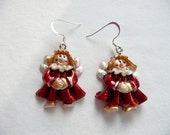 Red Metallic Angel Dangle Earrings