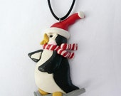 Snow Skiing Penguin Holiday Necklace
