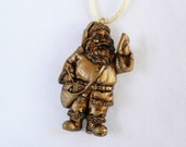 hnc-3D Gold Santa Carrying a Letter Holiday Necklace