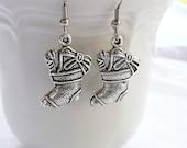 Silver Gift Filled Stocking Dangle Earrings
