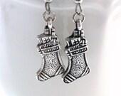 Silver Stocking Dangle Earrings