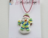 Clay Snowman Necklace