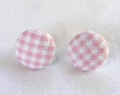 ns-CLEARANCE - Light Pink Plaid Fabric Covered Round Stud Earrings