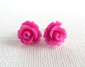 Petite Bright Pink Rose Stud Earrings