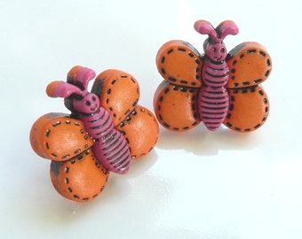 ns-CLEARANCE - Orange and Pink Butterfly Stud Earrings