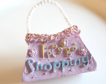 np-Let's Go Shopping Purse Brooch