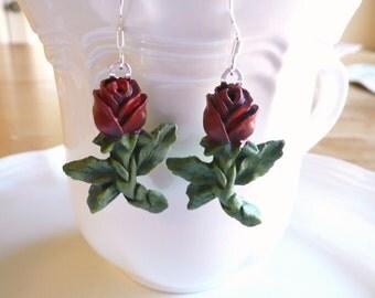 Lovely Red Rose Dangle Earrings