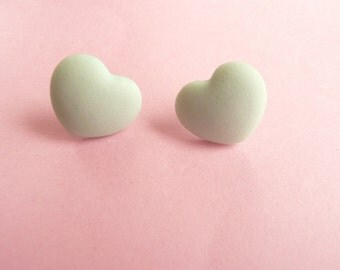 ns-CLEARANCE - Mint Green Heart Stud Earrings