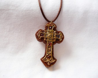 CLEARANCE - Antiqued Brown and Gold Cross Necklace