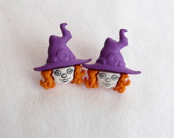 hs-Halloween Witch with Red Hair and a Purple Hat Stud Earrings