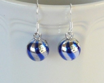 Small Blue and Silver Striped Ornament Dangle Earrings