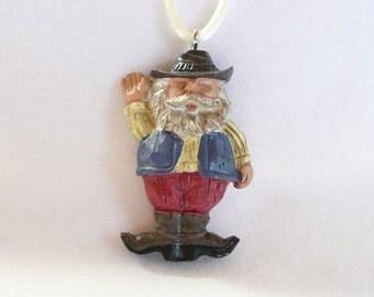 Welcoming Cowboy Santa Holiday Necklace