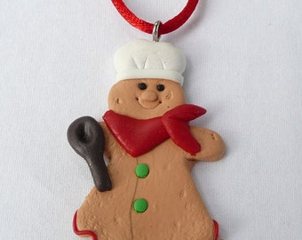 Gingerbread Girl Chef Holiday Necklace