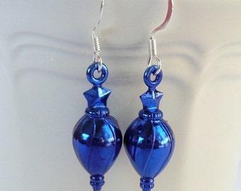 CLEARANCE -Metallic Blue Christmas Tree Ornament Dangle Earrings