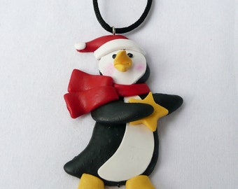 Dancing Penguin Claydough Necklace