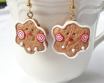hd-Christmas Cookie 6 Point Star Dangle Earrings
