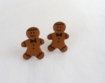 hs-CLEARANCE - Gingerbread Boy Stud Earrings (small)