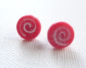 Mini Pink Swirl Hard Candy Stud Earrings