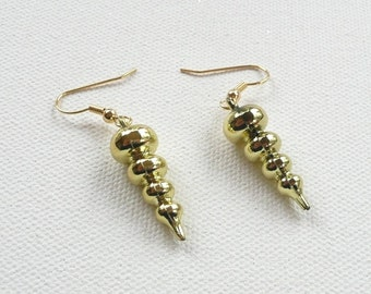 hd-Metallic Gold Swirl Dangle Earrings