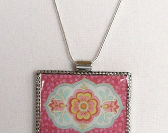 nnm-Pink and Blue Indian Flower Rectangle Charm on a Silver Plated Chain