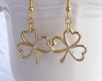 Gold St. Patrick's Day Open Shamrock Dangle Earrings