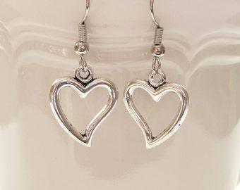 Open Double Sided Heart Dangle Earrings
