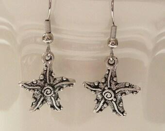 nd-Silver Starfish Dangle Earrings