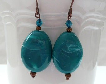 Turquoise and Antique Bronze Dangle Earrings