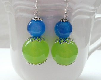 Green and Blue Round Dangle Earrings