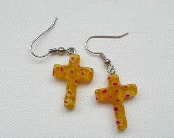 ndb-Yellow Floral Cross Dangle Earrings