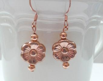 ndb-Bright Copper Flower Bead Dangle Earrings