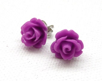 ns-Purple 3d Clay Rose Stud Earrings