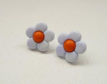 ns-Light  Blue and Orange Daisy Stud Earrings