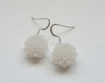 Frosted White Mum Dangle Earrings