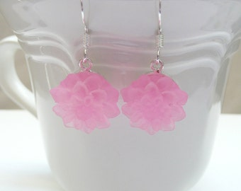 nd-Frosted Light Pink Mum Dangle Earrings