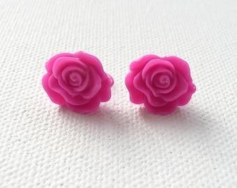 ns-Hot Pink Rippling Rose Stud Earrings