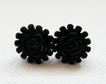 ns-Black Rose Center Flower Stud Earrings