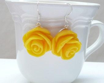 Large Yellow Rose Dangle Earrings