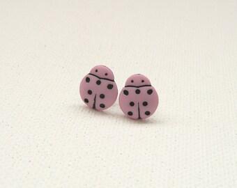 nd-CLEARANCE - Mini Light Pink and Black Ladybug Stud Earrings