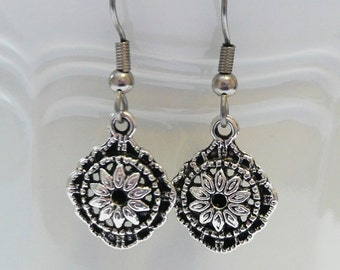 Silver Diamond Shape Dangle Earrings