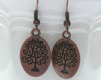 nd-Double Sided Oval Tree of Life Dangle Earrings-Copper