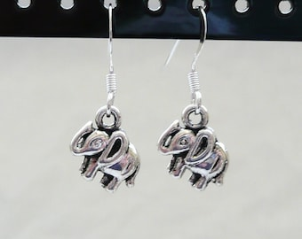 Small SIlver Elephant Dangle Earrings