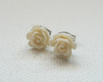 ns-Petite Off White 3d Clay Rose Stud Earrings
