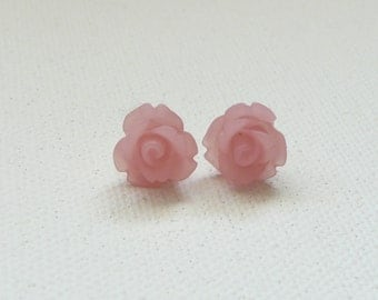 Petite Frosted Pink 3d Clay Rose Stud Earrings with Gold Plated Posts